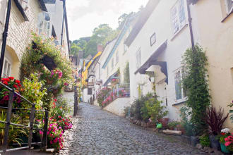 Beautiful view of the streets of Clovelly, nice old village in the heart of Devonshire