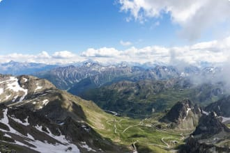 Aerial view of the Swiss Alps with the Great St Bernard Pass