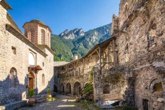 The Monastery of Agios Dionysios in Olympus, Greece.