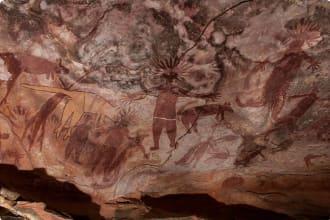 Ancient Rock Art paintings at Quinkan rock art site