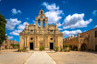 Arkadi Monastery (in Greek Moní Arkadíou) is an Eastern Orthodox monastery, situated near Rethymno. It is one of the most historic monasteries on Crete.