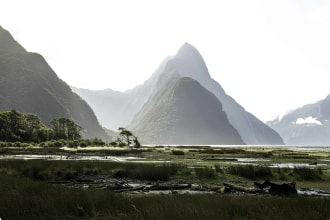 Milford Sound fjord and Mitre Peak at low tide