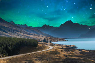 Panoramic nature landscape in south island New Zealand with milky way, Wanaka, walking tour