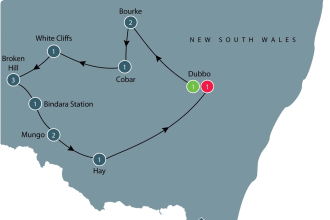 Dubbo and Western NSW tour map
