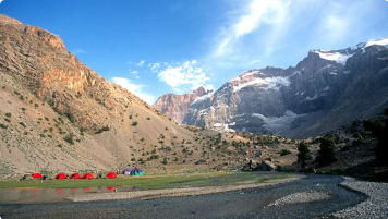 Red tents in the Pamir Mountains