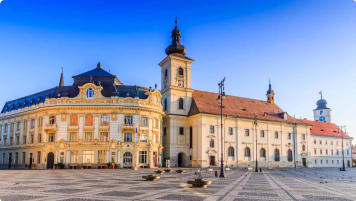 City hall and Brukenthal palace in Sibiu, Transylvania, Romania