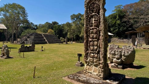 View of the Mayan ruins in Copan Honduras