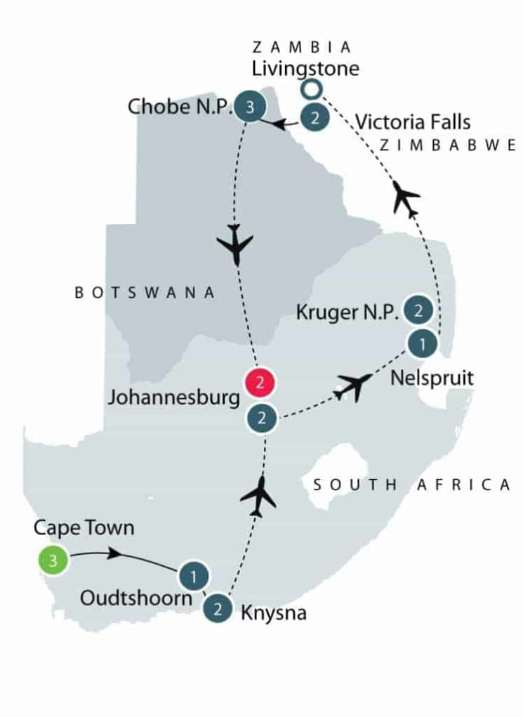 Southern Africa Tour | Fully Escorted Africa Tour for Seniors itinerary