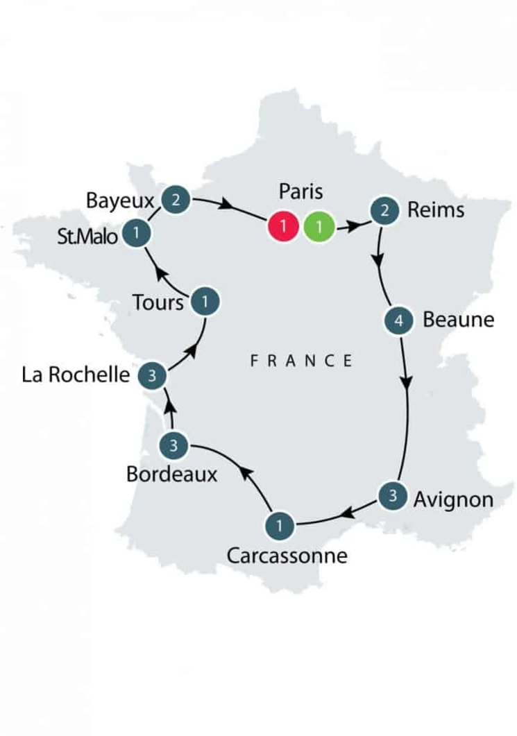 La Belle France small group escorted history tours for seniors itinerary