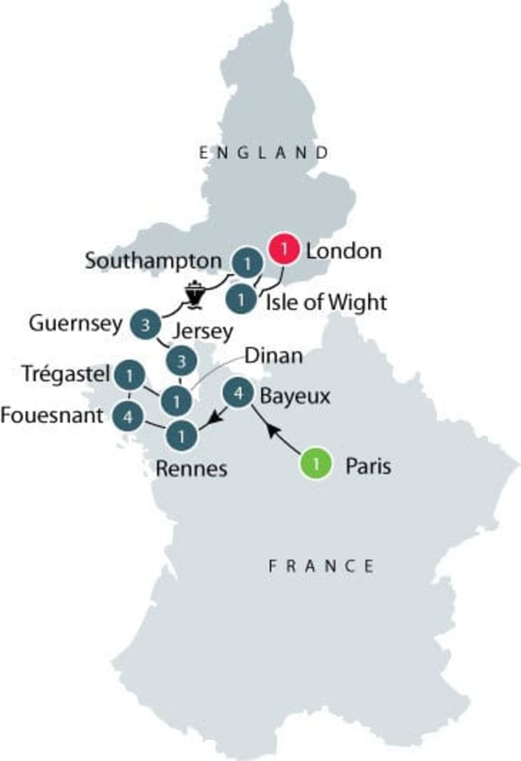Anglo French Tour   Normandy, Brittany, Channel Islands tour itinerary