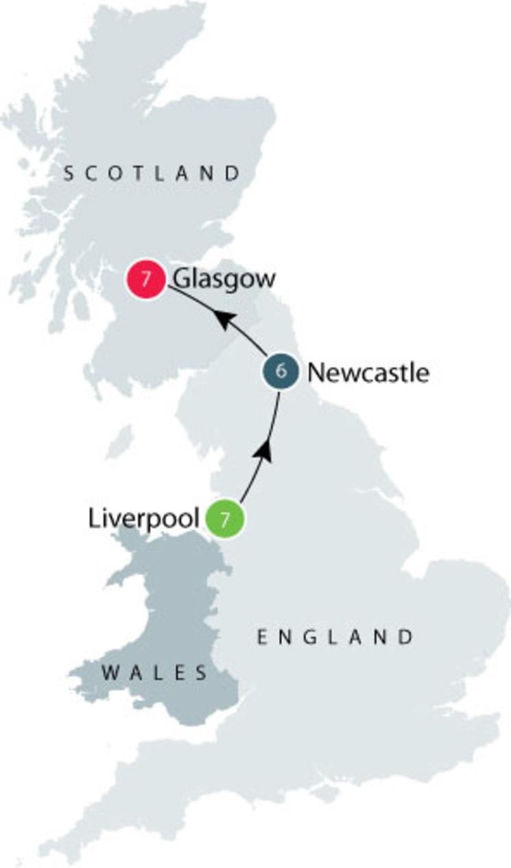 Liverpool, Newcastle, Glasgow itinerary