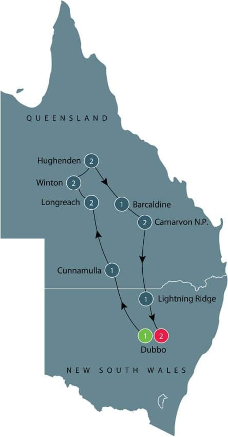 Small group tour of outback Queensland itinerary
