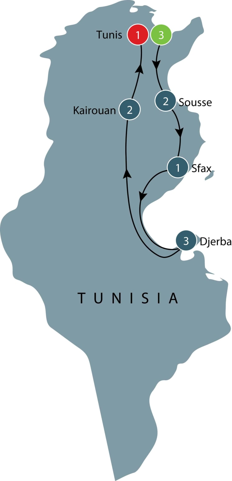 Tour of Tunisia itinerary