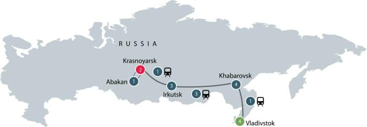Vladivostok to Krasnoyarsk on the Trans-Siberian Railway itinerary