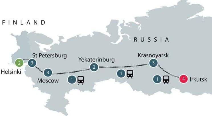 Helsinki to Irkutsk on the Trans-Siberian Railway itinerary