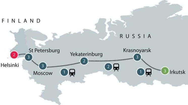 Irkutsk to Helsinki on the Trans-Siberian Railway itinerary