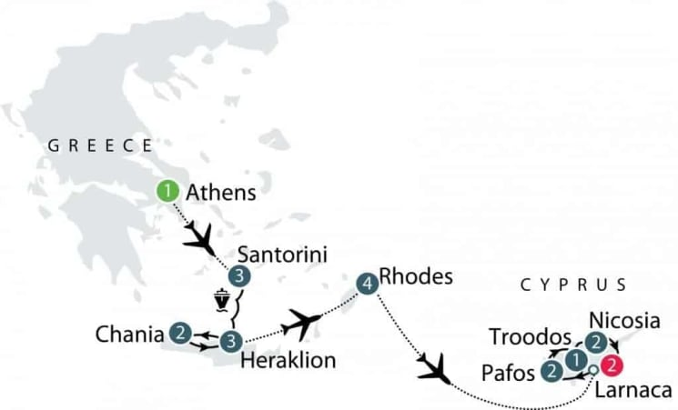 Santorini, Crete and Cyprus Small Group Tour | Eastern Mediterranean Islands Tour itinerary