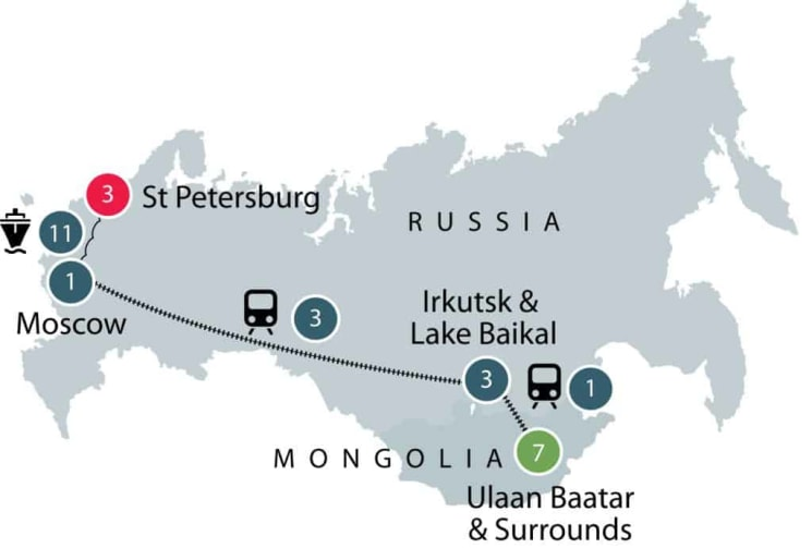 Journey through Mongolia and Russia small group tour itinerary
