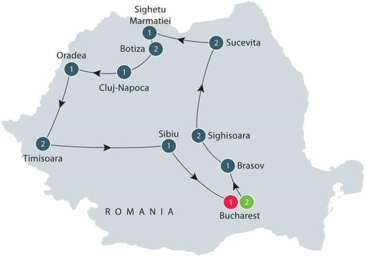 Discover Romania itinerary