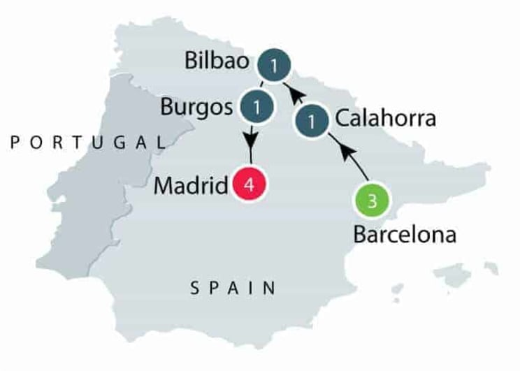 Short Spain Tour for senior and mature travellers itinerary
