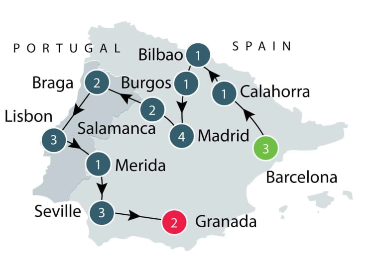 Small Group Guided Tours of Spain and Portugal itinerary