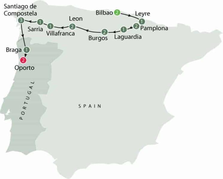Saint James Way Small Group Walking Tour (The Camino)- Spain itinerary