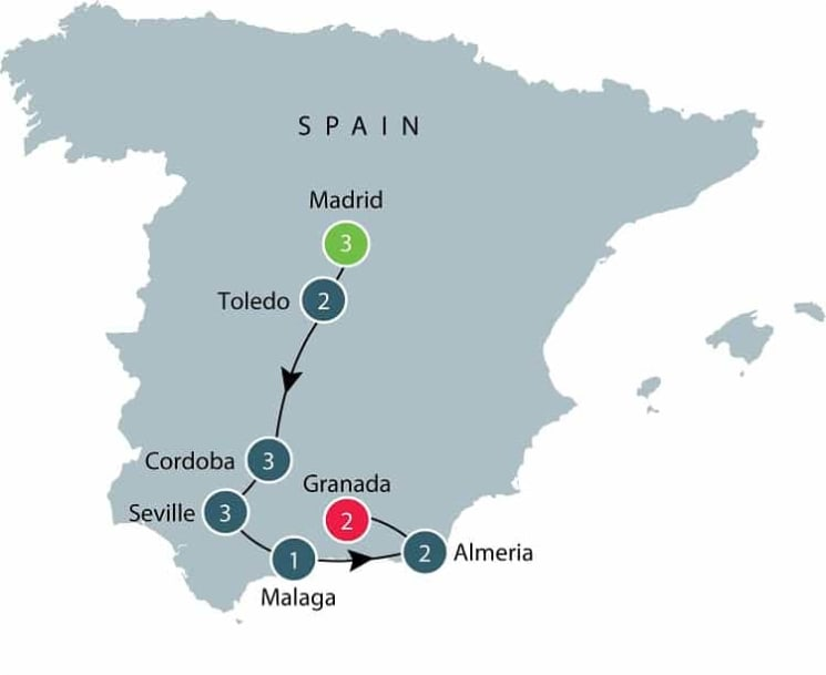 Moors in Spain itinerary