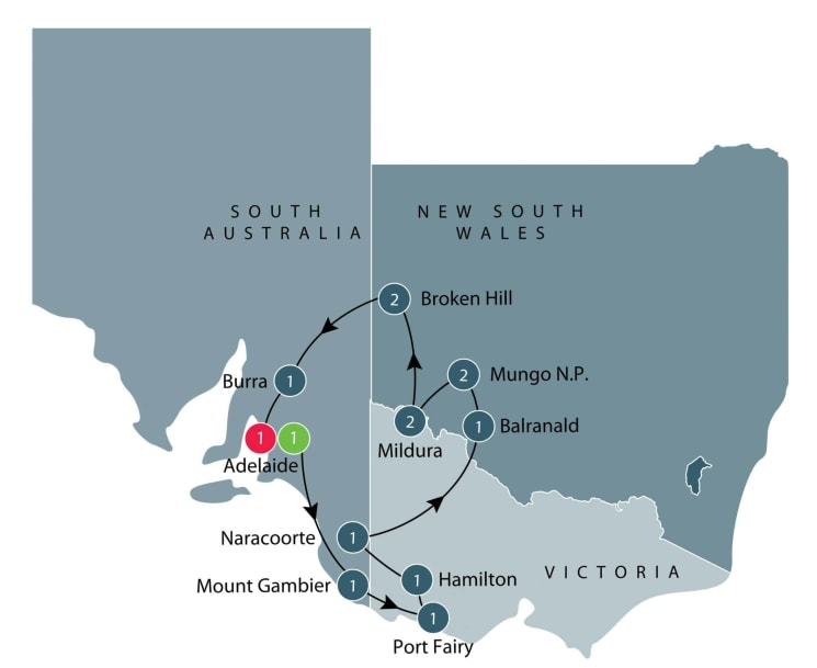 Guided small group motorcycle tour of World Heritage sites in Victoria and South Australia itinerary