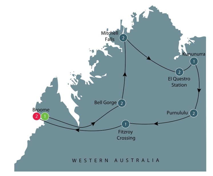Small group tour of Australia's Kimberley itinerary