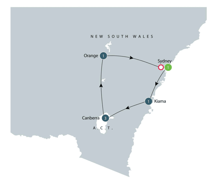 Small group tour to Southern Highlands and Canberra itinerary
