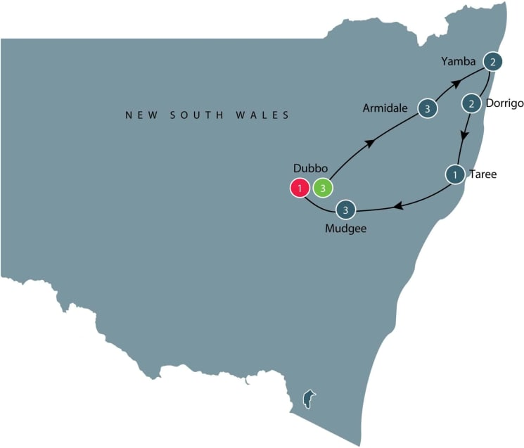 Escorted small group tour North East New South Wales itinerary