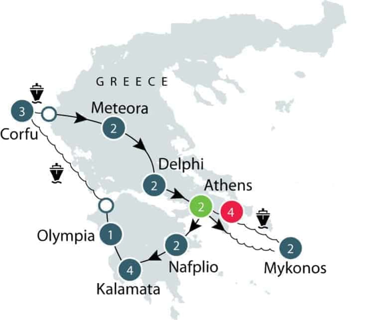 Greece small group escorted history tour itinerary