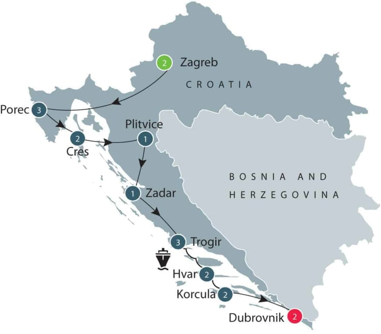 History of Croatia small group tours for senior travellers itinerary