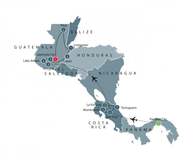 Journey through Central America: Panama, Costa Rica, Honduras, and Guatemala itinerary