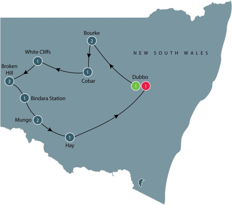 Guided small group Motorcycle tours of Western New South Wales itinerary