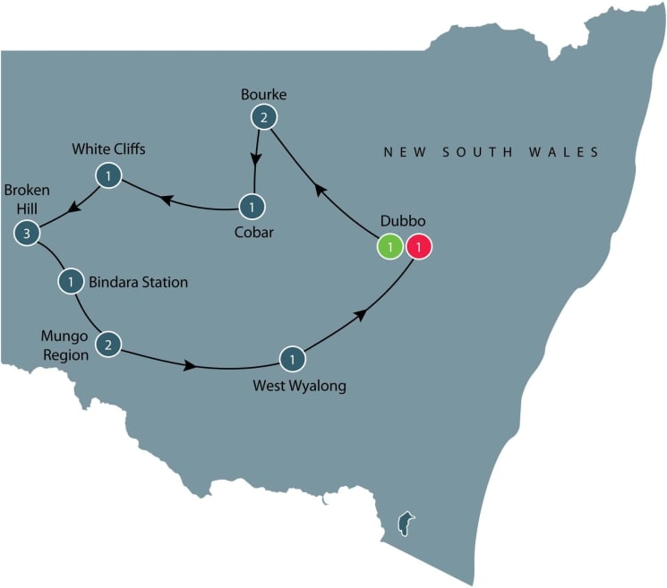 Escorted small group tour of Western New South Wales itinerary