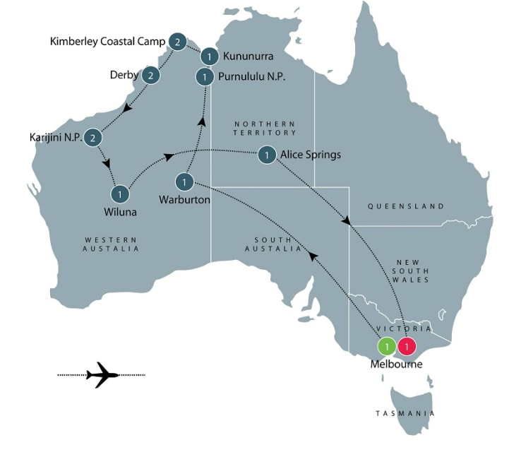 Kimberley and Pilbara explored by air itinerary