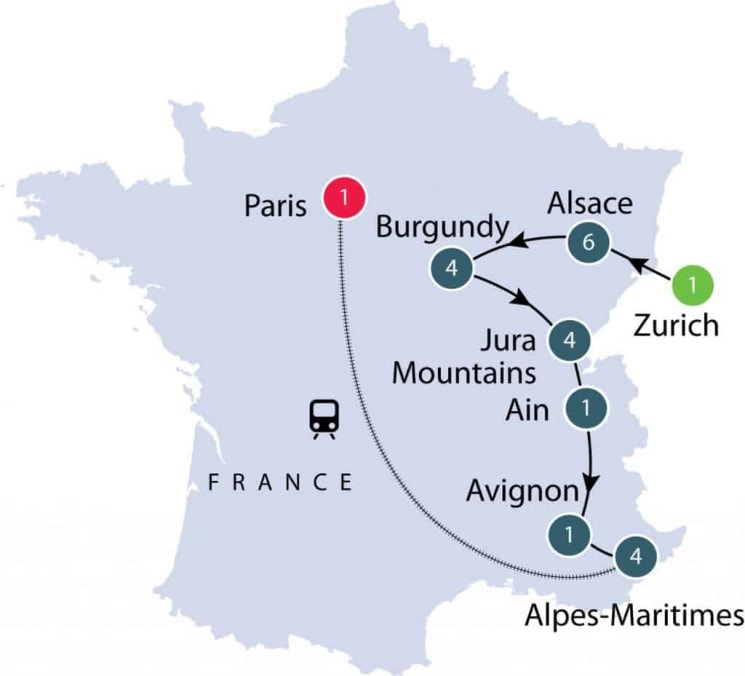 Provincial France   Small Group Tour for Seniors itinerary