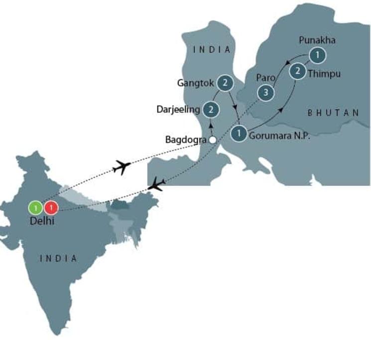 Tour of Darjeeling, Sikkim, and Bhutan itinerary