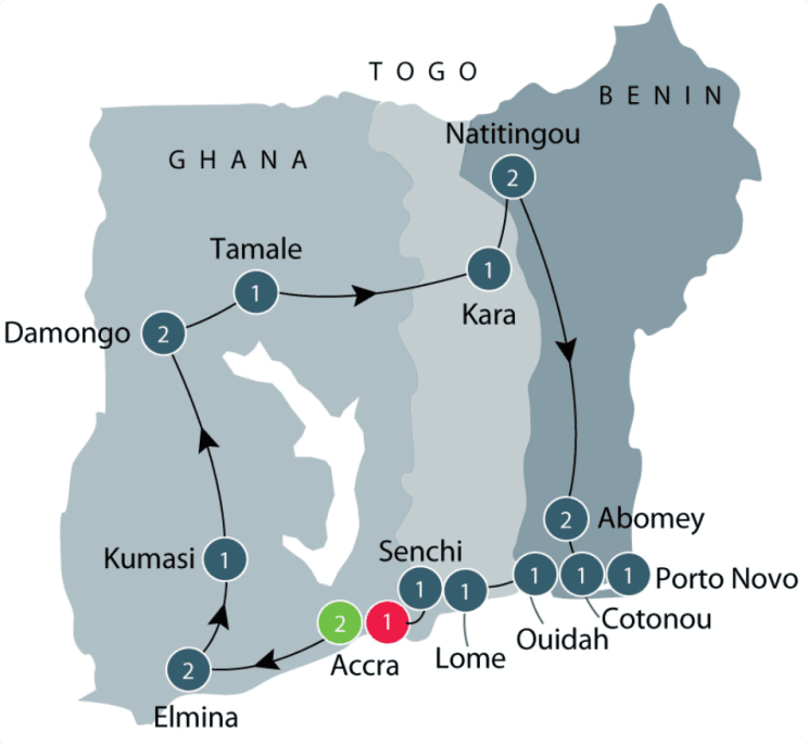 Explore the History, Culture and Wildlife of West Africa: Ghana, Togo & Benin Tour The History, Culture & Wildlife explored itinerary