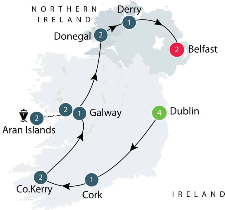 Small Group tours exploring the Treasures of Ireland itinerary