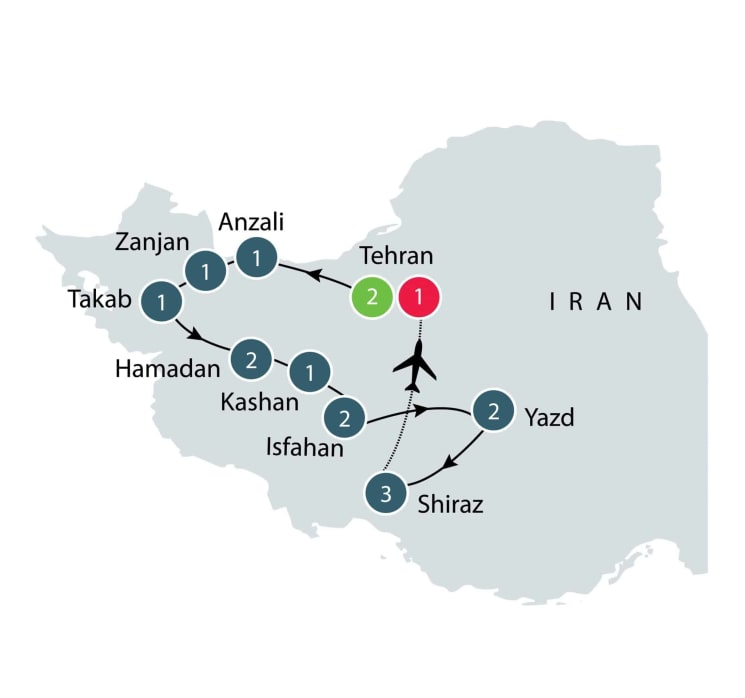 Iran Culture and History Escorted Small Group Tour for seniors itinerary