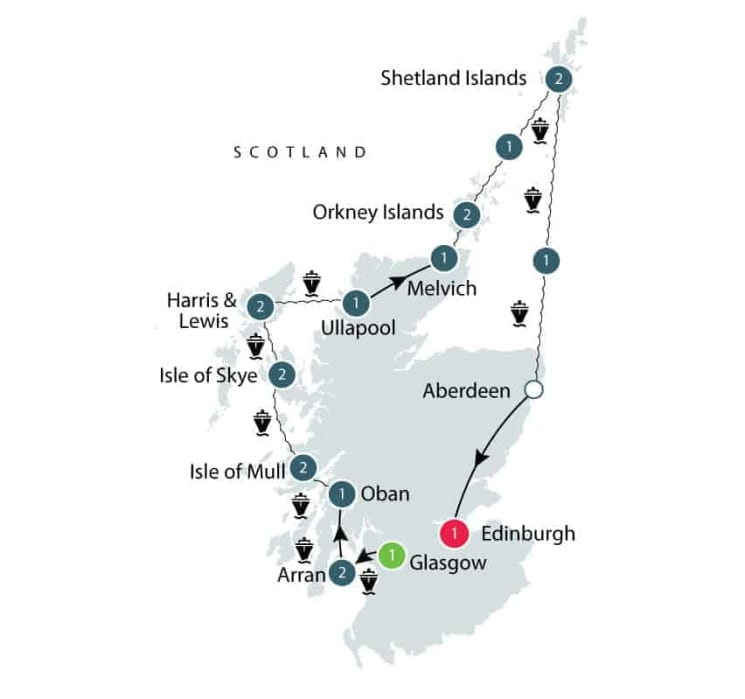 Scottish Islands and Shetland small group tours for seniors itinerary