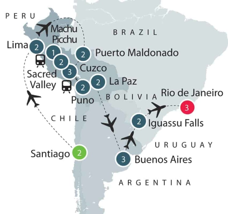 South American Small Group History and Culture Tour itinerary