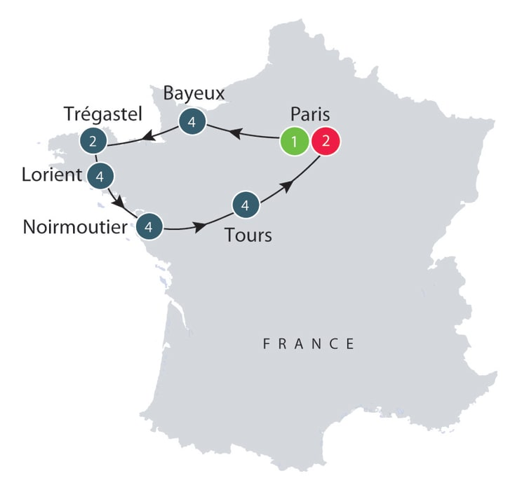 Normandy and Brittany escorted history tours for small mature grups itinerary