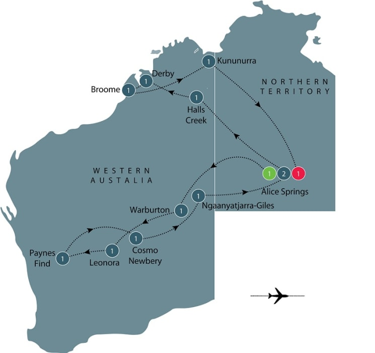 Central and Western Australia by Air itinerary
