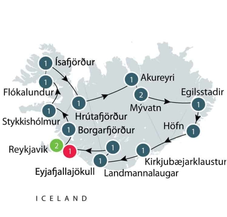 Iceland cultural and wilderness small group tour itinerary