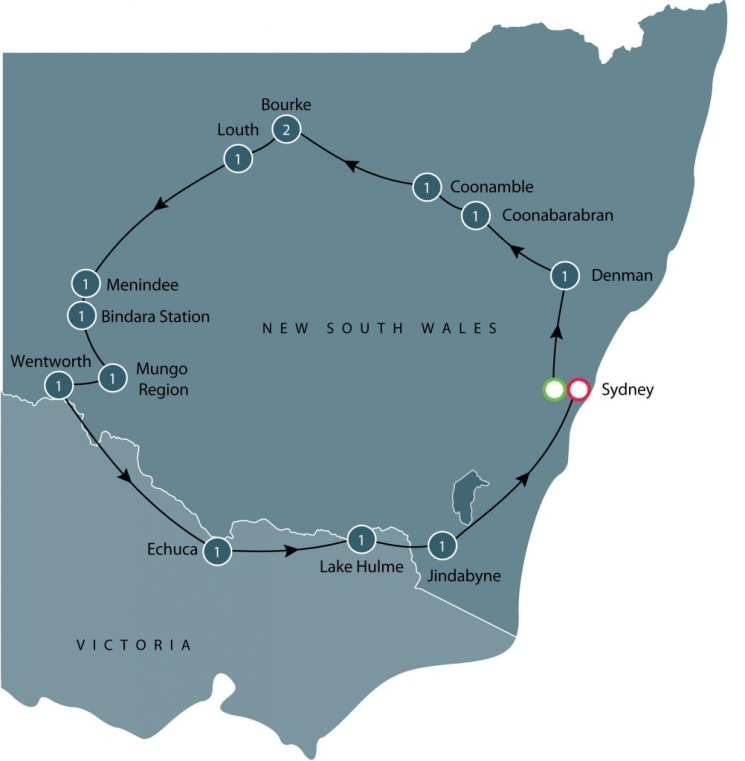 The Darling River Run small group tour itinerary