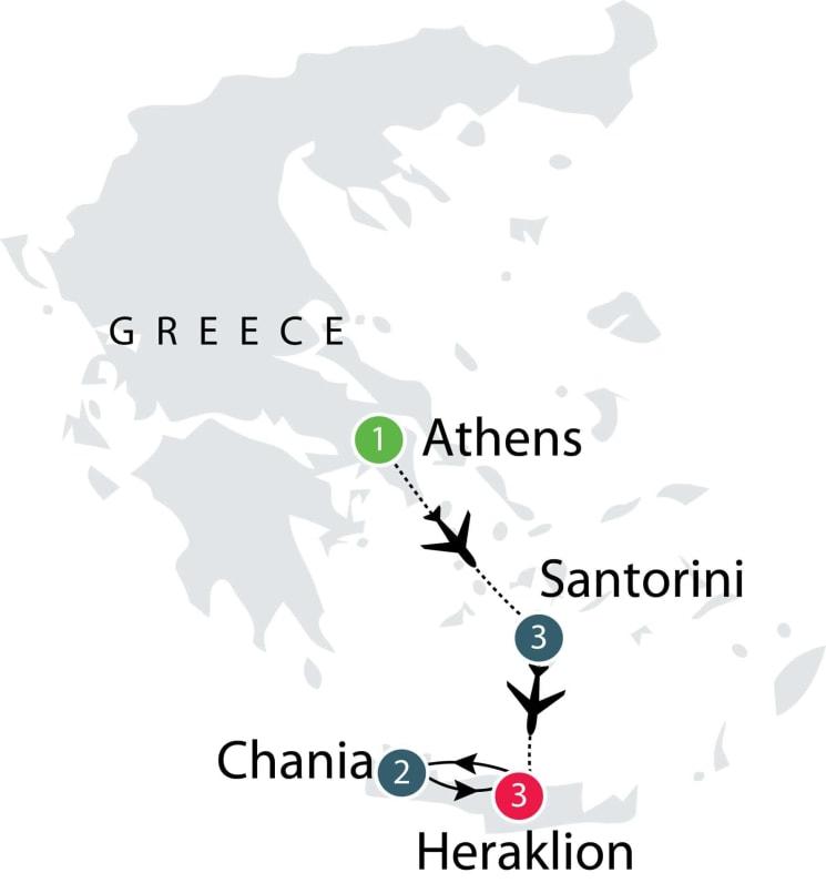 Santorini - Crete: Eastern-Mediterranean Islands Short tour itinerary