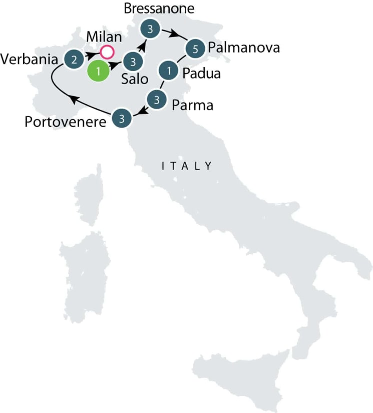 Tour of Northern Italy's Lake and Alps itinerary